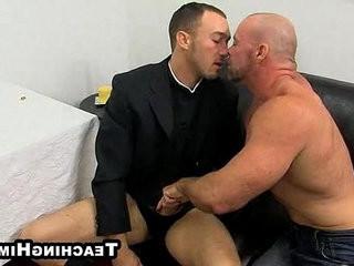 Mature hunk Casey Williams gets head in a church