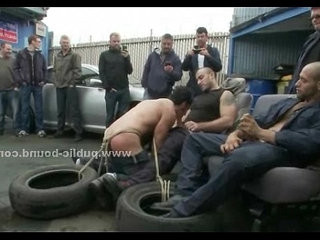 Gay hookup slave in rough fetish gang bang