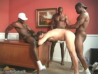A black trainer and two black studentranssexual sharing a white guy