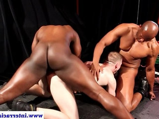 Ebony dudes in threeway with white dude